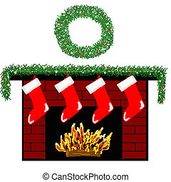 Holiday Fireplace - An illustration of a brick fireplace...