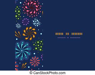 Holiday fireworks frame horizontal seamless pattern...