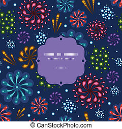 Holiday fireworks frame seamless pattern background - Vector...