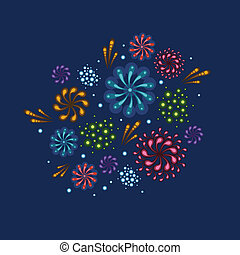 Holiday fireworks illustration - Vector holiday fireworks...