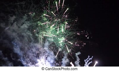 Holiday fireworks in sky