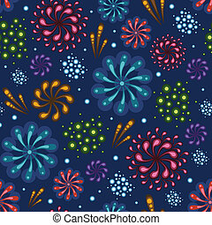 Holiday fireworks seamless pattern background