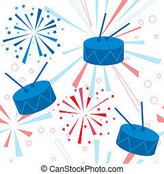 Holiday fireworks seamless pattern with drums