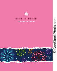 Holiday fireworks vertical torn seamless pattern background...