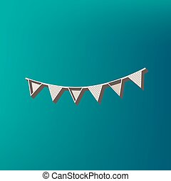 Holiday flags garlands sign. Vector. Icon printed at 3d on sea color background.