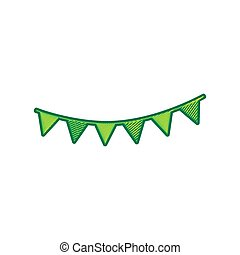 Holiday flags garlands sign. Vector. Lemon scribble icon on white background. Isolated