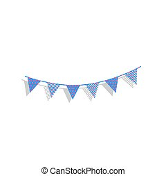 Holiday flags garlands sign. Vector. Neon blue icon with cyclame