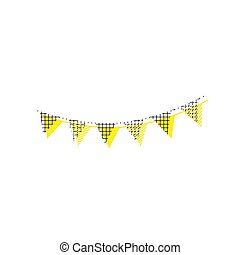 Holiday flags garlands sign. Vector. Yellow icon with square pat
