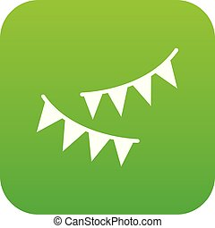 Holiday flags icon digital green