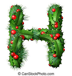 Holiday font letter H as a festive winter season decorated garland as a Christmas or New Year seasonal alphabet lettering isolated on a white background as a 3D illustration.