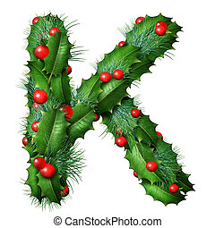Holiday Font Letter K Isolated - Holiday font letter K as a ...