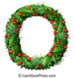 Holiday font letter O as a festive winter season decorated garland as a Christmas or New Year seasonal alphabet lettering isolated on a white background as a 3D illustration.