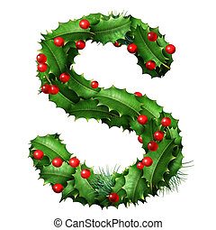 Holiday font letter S as a festive winter season decorated garland as a Christmas or New Year seasonal alphabet lettering isolated on a white background as a 3D illustration.