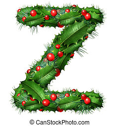 Holiday font letter Z as a festive winter season decorated garland as a Christmas or New Year seasonal alphabet lettering isolated on a white background as a 3D illustration.