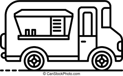 Holiday food truck icon, outline style