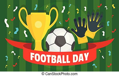 Holiday football day concept banner, flat style