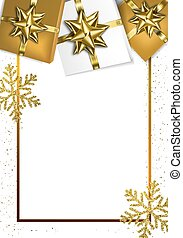 Holiday frame with bows and gift boxes. Vector illustration
