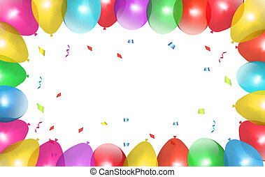 Holiday frame with colorful balloons. Vector.