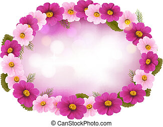 Holiday frame with colorful flowers. Vector