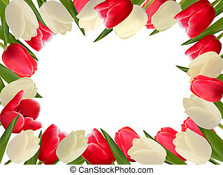 Holiday frame with colorful flowers. Vector illustration.