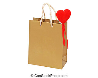Holiday gift bag with red heart.