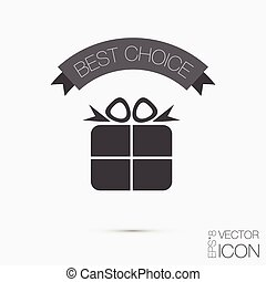 Holiday Gift Box Icon. Vector illustration EPS 8.