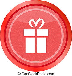 Holiday gift box icon web button . Flat sign isolated on white background