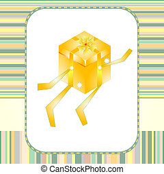 holiday gift box with bow greeting vector card