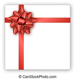Holiday gift box with red ribbon and bow. Template for a busines