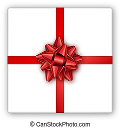 Holiday gift box with red ribbon and bow. Template for a business card, banner, poster, flyer, notebook, invitation