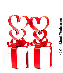holiday gift box with red ribbon