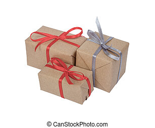 Holiday gift boxes decorated with ribbon isolated on white background