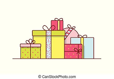 Holiday gift boxes wrapped in bright colored paper and decorated with ribbons and bows. Pile of packed festive presents isolated on white background. Colorful vector illustration in line art style.