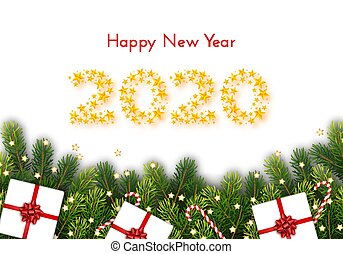 Holiday gift card. Happy New Year 2020. Numbers of golden stars, fir tree branches, candy canes and gift boxes on white background. Vector illustration