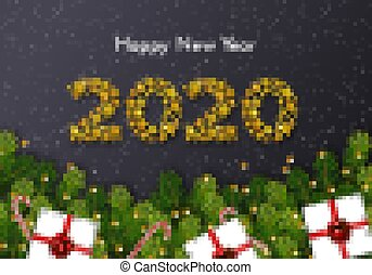 Holiday gift card. Happy New Year 2020. Numbers of golden stars, fir tree branches, candy canes, snow and gift boxes on dark background. Vector illustration