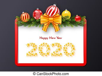 Holiday gift card. Happy New Year 2020. Numbers of golden stars, fir tree branches garland, Christmas balls and red frame with tied bow. Template for a banner, poster, invitation. Vector illustration