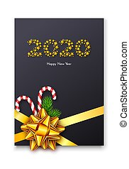 Holiday gift card. Happy New Year 2020. Numbers of golden stars, fir tree branches, tied bow and candy canes. Vector illustration