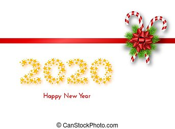 Holiday gift card. Happy New Year 2020. Numbers of golden stars, fir tree branches, tied red bow and candy canes on white background. Vector illustration