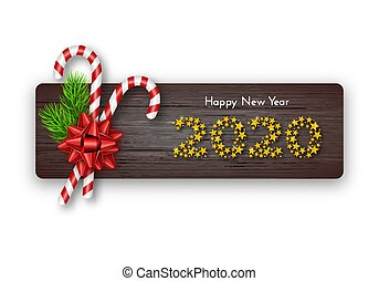 Holiday gift card. Happy New Year 2020. Numbers of golden stars, fir tree branches, tied red bow and candy canes on dark wood background. Template for a banner, poster, invitation. Vector illustration