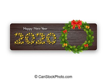 Holiday gift card. Happy New Year 2020. Numbers of golden stars, fir wreath with a bow on dark wood background. Template for a banner, poster, invitation. Vector illustration