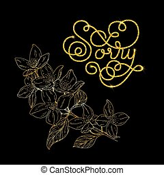 Holiday gift card with golden hand lettering Sorry and bloom silhouette