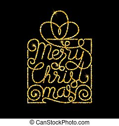 Holiday gift card with golden hand lettering Merry Christmas on black background