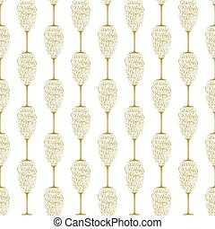 Holiday gift card with golden hand lettering Merry Christmas and Happy New Year in the form of a glass of champagne on white background