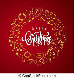 Holiday gift card with hand lettering Merry Christmas on red background. Template for a banner, poster, invitation