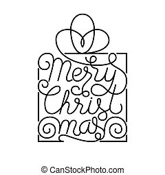 Holiday gift card with hand lettering Merry Christmas on white background