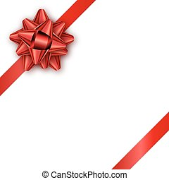Holiday gift card with red ribbon and bow. Template for a busine