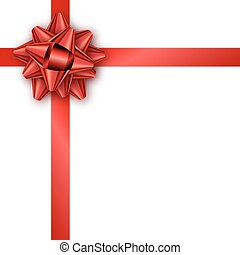 Holiday gift card with red ribbon and bow. Template for a business card, banner, poster, flyer, notebook, invitation