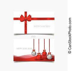 Holiday gift coupons with gift bows and christmas ball,...
