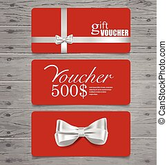 Holiday Gift Coupons with gift bows and ribbons. Vector illustra