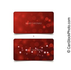 Holiday gift coupons with red background, vector illustration.